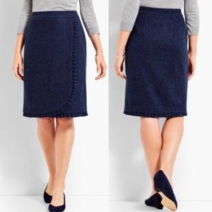 Talbots Wool Ruffle Pencil Faux Wrap Skirt